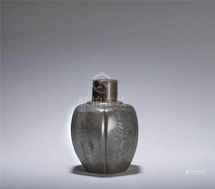 清 石崇製款 錫罐
