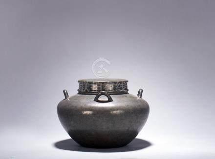 清 泰順館製 錫茶罐