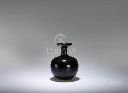 宋~元 磁州窯 黑釉盤口瓶