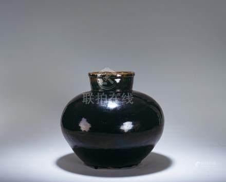 明 磁州窯 黑釉茶罐