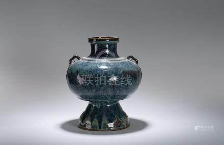 清 清國款 源豐製造 宜興藍釉瓶