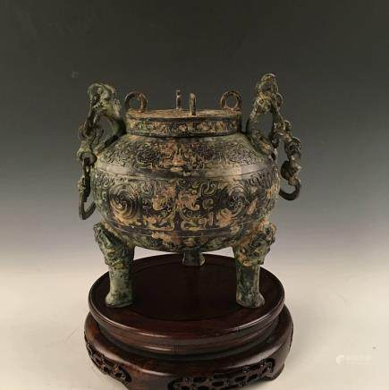Chinese Bronze Dragon Handle Tripod With Lid