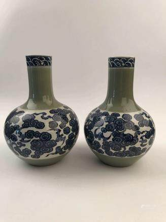 Pair Of Chinese Blue and Green Porcelain Vase