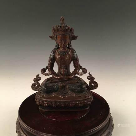 Chinese Bronze Tibetan Buddha Statue