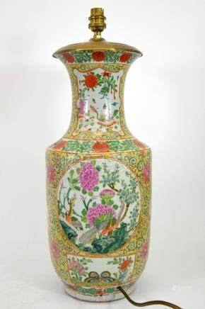 A Chinese famille rose vase, converted to a lamp base, Qianl