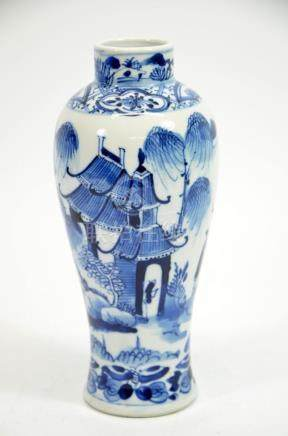 A Chinese blue and white vase, Kangxi mark and probably of t