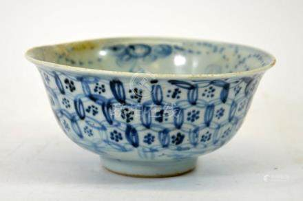 A Chinese blue and white bowl, Daoguang, circa 1820, the ext