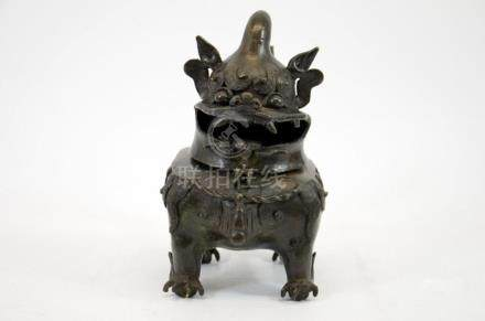 A Chinese bronze censer in the form of a dog, Ming, the head