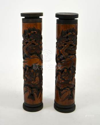 A pair of Chinese carved bamboo and reticulated joss stick h
