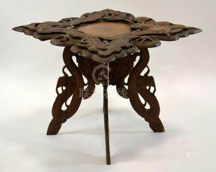 A 19th century Oriental carved hardwood occasional table, mo