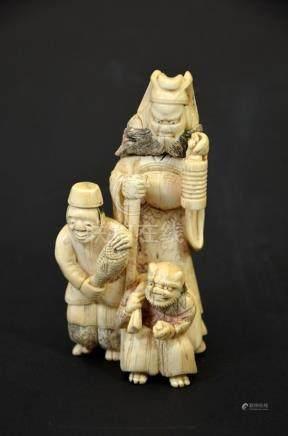 λ A 19th century Japanese carved ivory okimono, modelled as