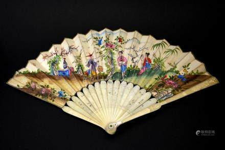 λ An 18th century Chinese carved ivory and painted fan, circ