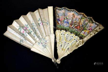 A 19th century bone fan, printed leaf with hand coloured 18t