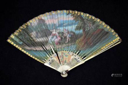 λ A rare late 17th - early 18th century silk fan. The double
