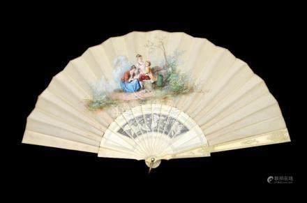 λ A 19th century hand painted and signed silk and ivory fan,