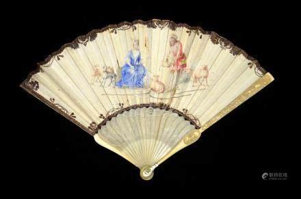 λ An early 18th century ivory fan, with carved ivory sticks