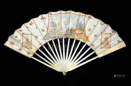 λ A late 18th century Dutch ivory fan with carved guards and