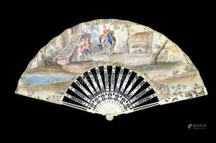 λ An 18th century ivory fan, with elaborately carved and pie