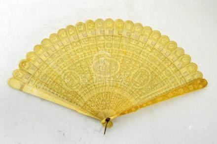 λ A Chinese ivory brise fan, 18th century, the stick termina