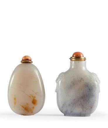 清 白玉鼻煙壺、灰白玉鼻煙壺 二件一組