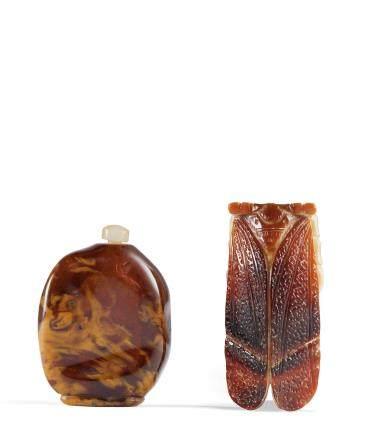 清 蜜蠟隨形鼻煙壺、鶴頂紅蟬形飾件 二件一組