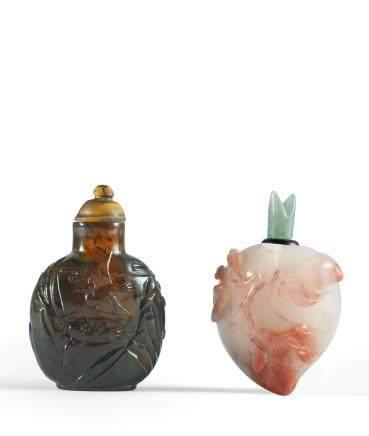 清 瑪瑙雙鶴朝陽鼻煙壺、瑪瑙壽桃形鼻煙壺 二件一組
