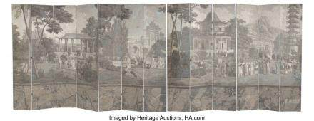 A Large French Thirteen-Panel Chinoiserie Grisaille