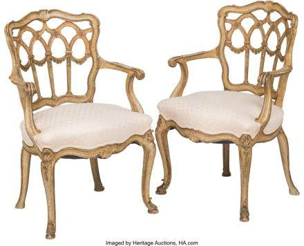 A Pair of Italian Carved and Paint-Decorated Armchairs,