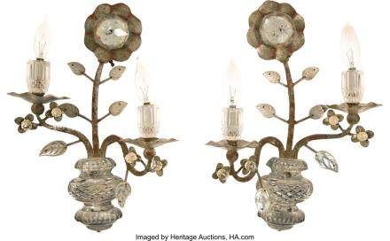 A Pair of Maison Bagues-Style Silvered Steel and Glass