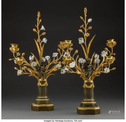 A Pair of French Louis XV-Style Gilt and Patinated