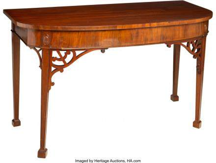 An English George III-Style Mahogany Demilune Console,