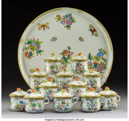 Twelve Herend Queen Victoria Pattern Porcelain Covered