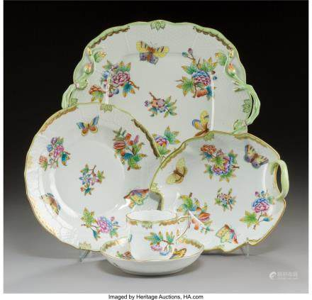 A Thirty-Four Piece Herend Queen Victoria Pattern