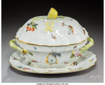 A Herend Queen Victoria Pattern Porcelain Tureen and