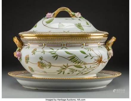 A Royal Copenhagen Flora Danica Pattern Porcelain Soup