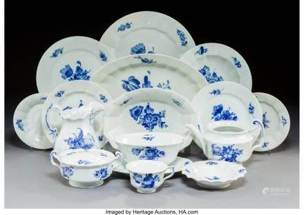 An Eighty-Piece Assembled Royal Copenhagen Blue Flowers