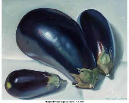 Paul Longenecker (American, 1920-2008) Eggplants Oil on