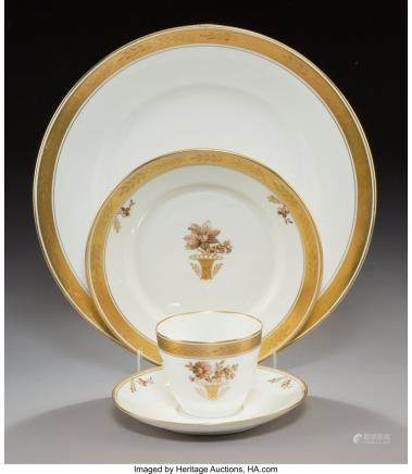 A Forty-Eight-Piece Royal Copenhagen Gold Basket