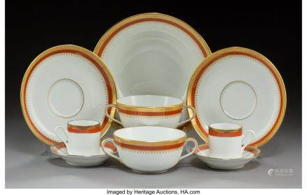 A Forty-Nine Piece Richard Ginori Regal Orange Pattern