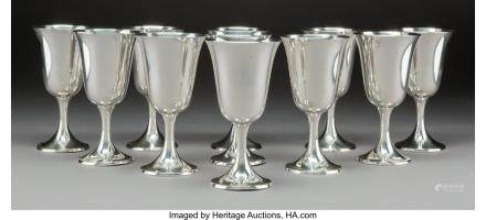 Eleven Gorham Mfg. Co. Silver Goblets, Providence,