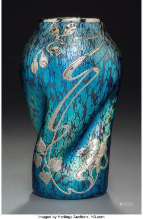 A Loetz Blue Iridescent Glass Vase with Silver Overlay,