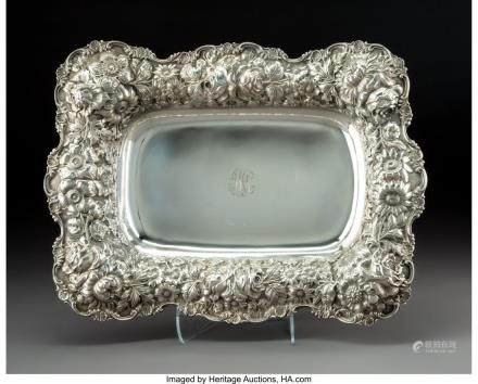 A Stieff Rose Pattern Silver Bread Tray, Baltimore,