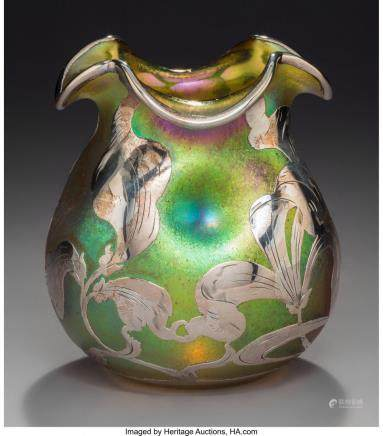 An Austrian Iridescent Glass Dimpled Vase with La