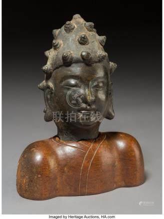 61737: A Chinese Bronze Buddha's Head on Hardwood Stand