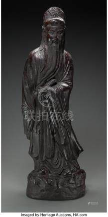 61738: A Bronzed Ceramic Figure of a Chinese Sage, late