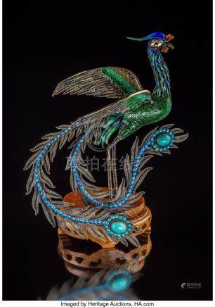61739: A Chinese Enameled Silver Filigree Phoenix Figur