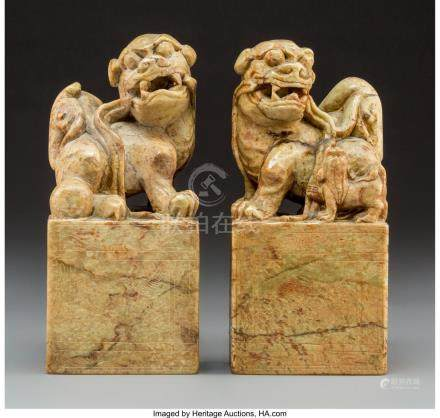 61741: Two Large Chinese Carved Soapstone Figural Seals