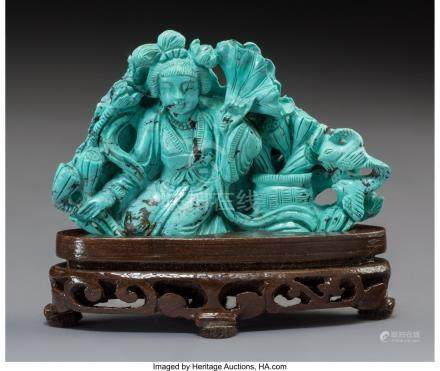 61742: A Chinese Carved Turquoise Figural Group on Hard