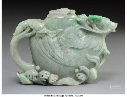 61744: A Chinese Carved Jadeite Teapot with Phoenix and