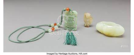 61749: Three Chinese Carved Jade and Hardstone Items 2-